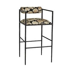 Barbana Counter Stool Ocelot Embroidery - Bar and Counter Stools - Seating - Furniture - Shop Kitchen Seating, Kitchen Counter Stools, Bar Seating, Bar Counter, Upholstered Bar Stools, Upholstered Furniture, Metal Furniture, Furniture Design, Island Chairs