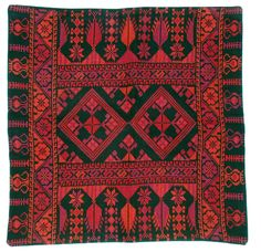 Embroidered Pillow Cover, Amman Pattern, Red: Handcrafted Palestinian Gifts | Folk Art Mavens