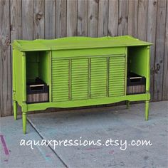 Lime Green Stereo console/ Distressed/ Vintage/ by AquaXpressions, $250.00