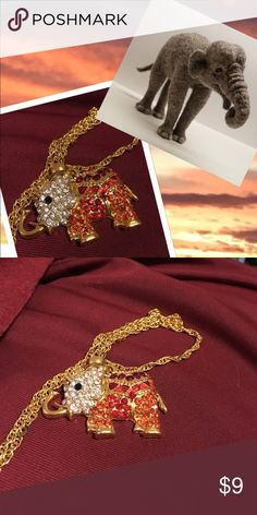 Feeling Lucky  Red/White Rhinestone Pendant Sparkly red and white rhinestone Pendant takes the good luck of elephants . Jewelry Necklaces