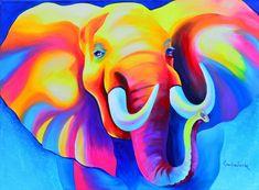 Ik vind dit een erg gaaf schilderij door de kleuren, het past namelijk totaal niet bij het dier en de kleuren passen ook niet bij elkaar, dit geeft in dit geval een mooi contrast naar mijn mening. Als ik dit schilderij zie word ik vrolijk en denk ik aan de zomer door de vrolijke kleuren.