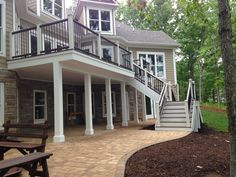 Amazing Trex deck with aluminum top rails. This helps with visibility while sitting down and looking out. What an amazing space. Patio Under Decks, Landscaping Around Deck, Decks And Porches, Deck Patio, Deck Builders, House Deck, Patio Makeover, Backyard Patio Designs, Balcony Design