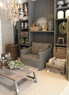 warm rustic shades of grey, taupe and milk white - The Paper Mulberry: Essentially French!