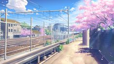 building cherry_blossoms clouds nobody original petals scenic sky train yuuko-san Anime Backgrounds Wallpapers, Anime Scenery Wallpaper, Cute Cartoon Wallpapers, Episode Interactive Backgrounds, Episode Backgrounds, Aesthetic Desktop Wallpaper, Aesthetic Backgrounds, Sky Anime, Casa Anime