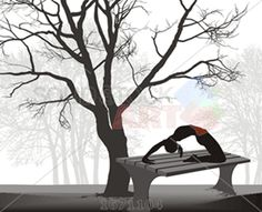 Vector black silhouette female gymnast on park bench with trees horizontal