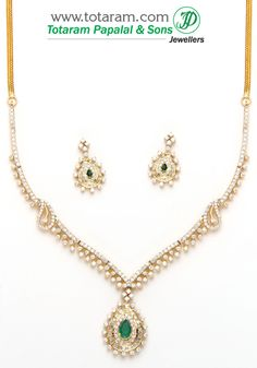 18K Gold Diamond Necklace & Earrings Set with Ruby & Onyx