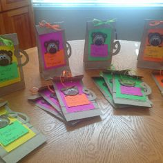 Homemade monkey party bags!