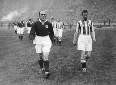 Arsenal 2 Huddersfield 0 in April 1930 at Wembley. The captains, Tom Parker and Tom Wilson, lead the teams out for the FA Cup Final. Arsenal News, Tom Wilson, Huddersfield Town, Tom Parker, Fa Cup Final, Zeppelin, Finals, Champion, Toms