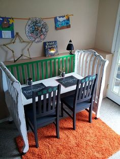 or repurpose crib as play table?