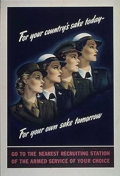 WWII poster encouraging women to enlist in the military.