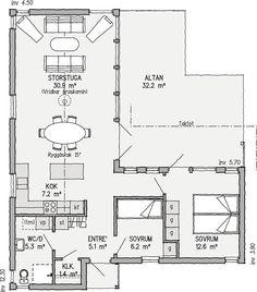 Kållandsö 76 | Ett bättre boende. Arkitektritade hus, bygga fritidshus | VärsåsVillan Forest Cabin, Block Wall, Reinforced Concrete, Civil Engineering, Small Living, Tiny House, House Plans, Cool Designs, Floor Plans