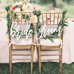 Bride and Groom Chair Signs for Wedding, Sweetheart Table Signs, Hanging Chair Sign, Wooden Wedding Outdoor Wedding Chairs, Wedding Chair Signs, Wooden Wedding Signs, Wedding Table, Wedding Ideas, Wedding Poses, Trendy Wedding, Dream Wedding, Wedding Inspiration
