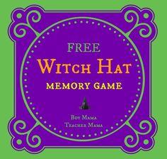 Boy Mama Teacher Mama   FREE Halloween Witch Hat Memory Game
