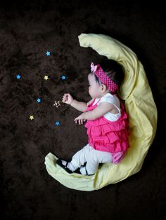 Sleeping baby wishing on a star