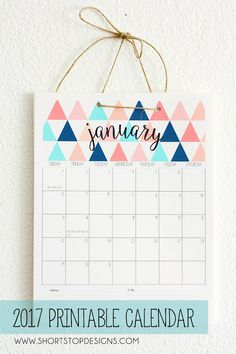 Love this free, pretty 2017 Printable Calendar from Short Stop Designs. 2018 Printable Calendar, Diy Calendar, Calendar Pages, Printable Planner, Free Printables, Summer Calendar, Design Poster, Diy Halloween, Getting Organized