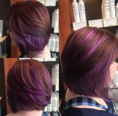 Brown and purple hair