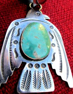Navajo Thunderbird Pendant Sterling Silver Turquoise with Bale Striking Piece | eBay