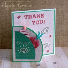 Thank You, You're a Diamond card with Simply Creative Made with Love papers & First Edition dies by design team member Angela