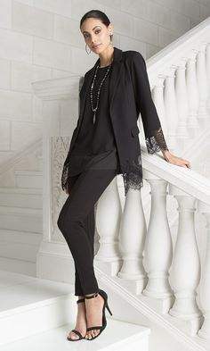 Black Label - THE MODERN LACE BLAZER - A black blazer is a wardrobe staple; pretty lace trim make this one a feminine standout.