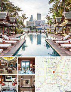 O hotel de luxo nas margens do Rio Chao Phraya, o antigo Rio dos Reis, perto da Ponte Sathorn. Um serviço de shuttle de barcos estabelece a ligação com o 'River City Komplex', assim como com outros estabelecimentos comerciais e locais de entretenimento do outro lado do rio.