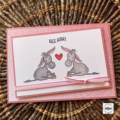 You can't help but fall in love with these Darling Donkeys <3 This card using the Darling Donkeys free Sale-a-bration stamp set and the free 'Oh so Ombre' Designer Series Paper (available free with a minimum purchase). Hee Haw, Donkeys, Falling In Love, Stampin Up, Paper, Cards, Handmade, Free, Design