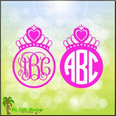 Tiara Monogram Base Design Digital Clipart and Cut File Instant Download SVG, DXF, EPS and Jpeg Files - pinned by pin4etsy.com