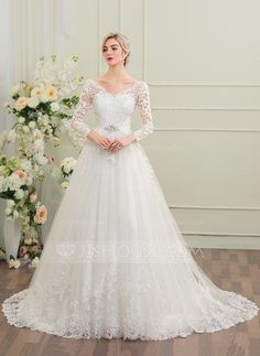 Ball-Gown V-neck Court Train Beading Sequins Zipper Up Sleeves Long Sleeves Church General Plus No Winter Spring Fall Ivory Tulle Lace Wedding Dress