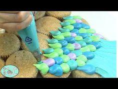 Mermaid Cupcake Cake, Mermaid Tail Cake, Mermaid Birthday Cakes, Birthday Cupcakes, Cupcake Cakes, Ladybug Cupcakes, Snowman Cupcakes, Giant Cupcakes, Cup Cakes