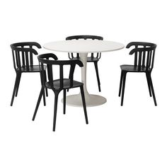 IKEA - DOCKSTA/IKEA PS 2012, Table and 4 chairs, , A round table with soft edges gives a relaxed impression in a room.You sit comfortably thanks to the armrests.You sit comfortably thanks to the shaped back.