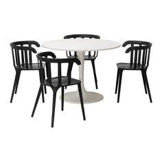 DOCKSTA/IKEA PS 2012 Bord og 4 stole IKEA Et rundt bord med bløde hjørner gi'r rummet et afslappet udseende.