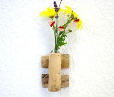 Mini Wandvase Vase Treibholz Glas Blumen klein  von SchlueterKunstundDesign - Wohnzubehör, Unikate, Treibholzobjekte, Modeschmuck aus Treibholz auf DaWanda.com