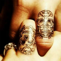Skull Couple Tattoos mine and jeremys new tattoos and on ring fingers will have his and hers