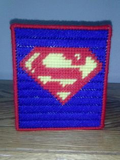 Man of Steel Superman Hero Plastic Canvas Tissue Box Cover by crazystitches, $15.00 USD