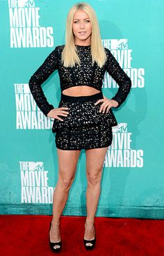 Julianne Hough Rock of Ages' Hough showed a bit of skin in Sally LaPointe's long sleeve black mini dress, which she accessorized with Jimmy ...