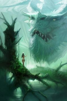 dragon in the moor forest, dragon with tusks dragon head portrait fantasy art, mythical creature design concept art illustration inspiration ideas for concept artists Fantasy Artwork, Magical Creatures, Fantasy Creatures, Fantasy Animal, Dragon Art, Big Dragon, White Dragon, Green Dragon, Dragon Head