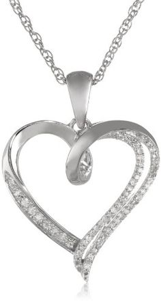 """Sterling Silver Diamond Individual Prong Setting Heart Pendant Necklace (1/10 cttw, I-J Color, I2-I3 Clarity), 18"""" Amazon Curated Collection,http://www.amazon.com/dp/B00EM3RF0Y/ref=cm_sw_r_pi_dp_RyDCtb052JGE81TG"""