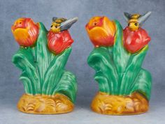 Vintage Ceramic Bees ON Tulip Flowers Salt AND Pepper Shakers