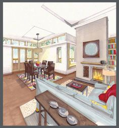 hand rendering, green home