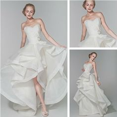 High Quality Two Piece In One Hi Low Short Long Wedding Dress With Removable Skirt US $167.00
