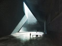 The hall of Wallace's office in Blade Runner concept art based on a design by Estudio Barozzi Veiga for the unbuilt Neanderthal Museum in Piloña, Spain, Peter Popken, 2016 Concept Architecture, Futuristic Architecture, Landscape Architecture, Interior Architecture, Layered Architecture, Light And Space, Art Base, Environment Concept, Deco Design