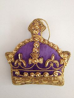 Hand embroidered velvet crown decoration sold by Latham Interiors Holiday Decorating, Decorating Ideas, Crown Decor, Saeran, Christmas Projects, Christmas Tree Ornaments, Crowns, Shower Ideas, Deck