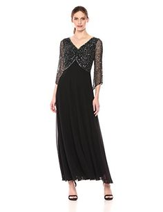J Kara Womens Sleeve VNeck Beaded Top Long Gown Black/Gun/Mercury 8 *** Check this awesome product by going to the link at the image-affiliate link. Blazers For Women, Jackets For Women, Feather Fashion, Formal Dresses For Women, Beaded Top, Tube Dress, Knee Length Dresses, Floral Tops, Kara