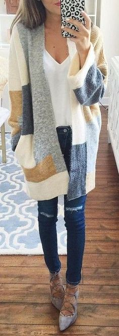 #summer #preppy #outfits |  Cozy Cardigan + White Tee + Jeans
