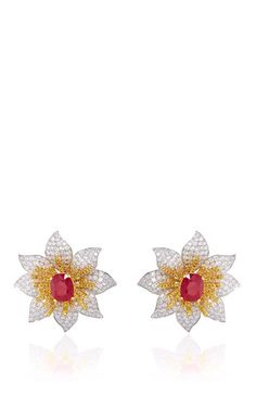 http://rubies.work/0224-ruby-rings/ Ruby Earrings With Fancy Yellow And White Diamonds In 18 K White And Yellow Gold by