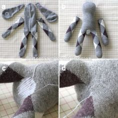 You need a pair of crew length sock and another matching color sock to sew a sock lop eared bunny. Instructions come with step by step pictures.