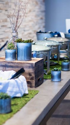 Event Design - Natural Rustic Decor - buffet decor - succulents and moss display https://sweetwoodcreativeco.com/blog-posts/style-an-event-for-guys | Event design | Event planning | styling an event for guys | men's decor | natural centerpieces | rustic centerpieces | moss centerpiece | succulent centerpiece | natural decor natural - rustic-centerpieces #rusticcenterpieces #naturalcenterpieces #decorformen #moss #naturaldecor #succulents