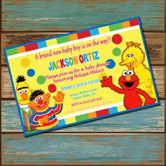 Sesame Street Baby Shower Invitation By DashingDigitalDesign, $12.99