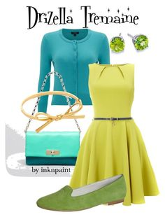 """Drizella Tremaine: Disney's Cinderella"" by inknpaint ❤ liked on Polyvore featuring Hobbs, Blue Nile, Kate Spade, Closet, Jette, disney, cinderella, ugly, Anastasia and stepsisters"