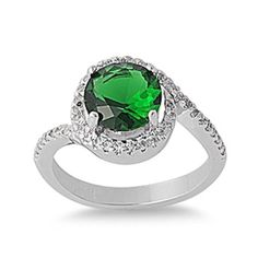 Solid 925 Sterling Silver 2.50 Carat Emerald Green Round Clear Russian Diamond White CZ Halo Bypass Wedding Engagement Bridal Ring
