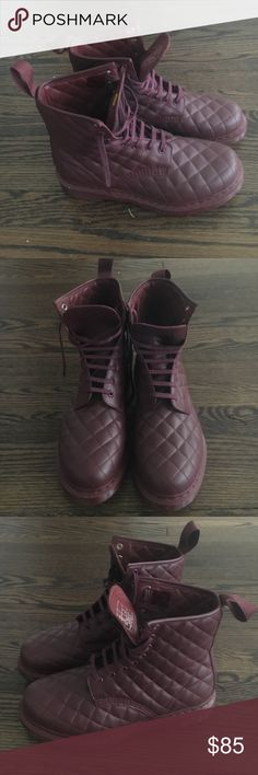Quilted Dr Martens Dead stock quilted purple doc martens Dr. Martens Shoes Combat & Moto Boots
